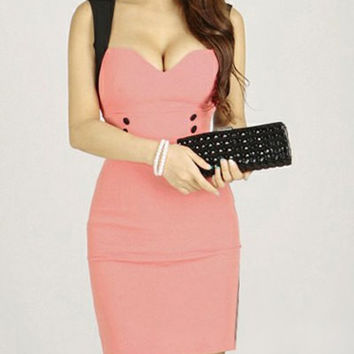 Pink Sleeveless Bodycon Mini Dress