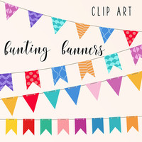 Bunting Banners Clip Art | Party Banner | Birthday Clipart | Colorful Flags | Buy More Save More: BUY5FOR8
