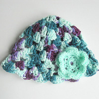 Baby Girl Purple And Teal Hat 3 To 6 Month Infant Summer Cotton Violet Aqua Beanie Mint Green And Lavender Cap Girl Spring With Flower