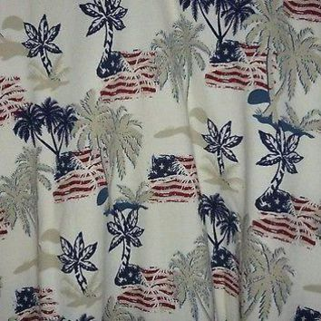 Croft & Barrow American Flag & Palm Trees Polo Shirt Size XLT