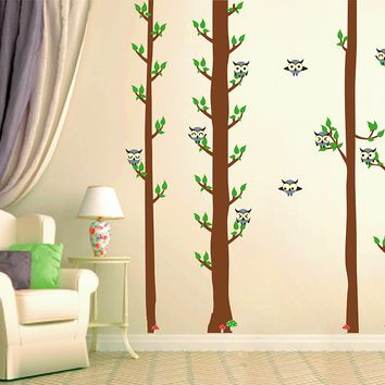 cik1671 Full Color Wall decal bedroom children's Custom Baby Nursery tree nusery decal tree forest owl birds