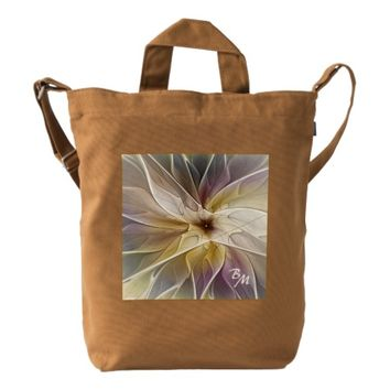 Floral Fantasy Pattern Abstract Fractal Monogram Duck Bag