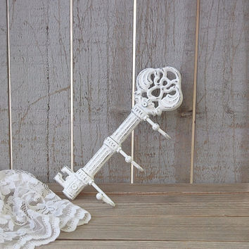 White shabby chic skeleton key hook