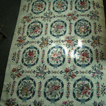 "Fabulous Vintage Handmade Needlepoint 100% Wool Rug 3' 10""x5' 8"" Country Farmhouse Cottage Shabby Chic Rustic Home Decor Keepsake Heritage"