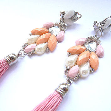 Tassel earrings, pink tassel earrings, Pastel Earrings, Pink earrings, orange earrings, Multicolor earrings, statement earrings, clip on