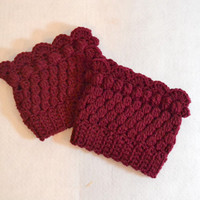 Wine Red Boot Cuff, Textured Crochet, knit boot sock, boot liner, Leg warmers,