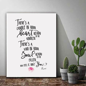 Printable Word Art, Printable Quote Art, There's a Candle In Your Heart Waiting To Be Kindled, Rumi, Printable Women Gift, Inspirational Art