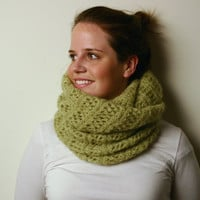 Hand knitted top quality Mohair cowl circle scarf by SweetNumber