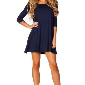 Carly Navy Blue Strappy Back 34 Sleeve Jersey Trapeze Dress