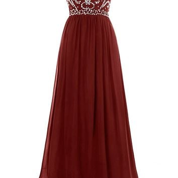 Hot Sale Burgundy Prom Dress Sweetheart Off Shoulder Sexy Backless A-Line Heavy beading Shining Design Evening Dress Plus Size