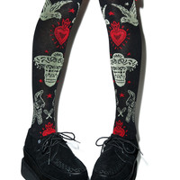 Too Fast Day Of The Dead Fiesta Eyelet Knee Socks Black One