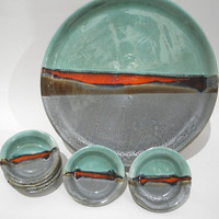 Handmade Ceramic Plates, Serving Tray and Dishes, Seder Plate, Tapas Dishes in Teal Grey and Red Landscape Design