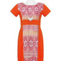 Orange Contrast Illusion Dress