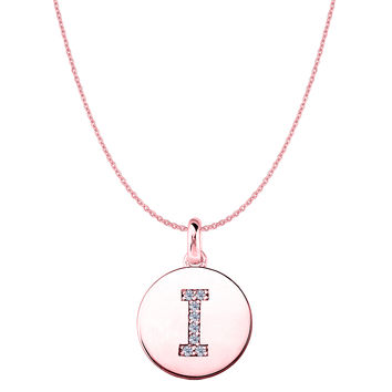 """I"" Diamond Initial 14K Rose Gold Disk Pendant (0.08ct)"