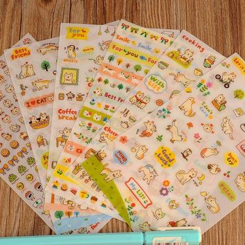 VONC1Y Play Cat Diary Stickers Pack Post it Kawaii Planner Scrapbooking Sticky Memo Sticker Stationery Escolar 2016 New School Supplies