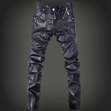 Mens skinny jeans overalls motorcycle jeans men pu leather pants patchwork denim biker jeans leather joggers size 28 37
