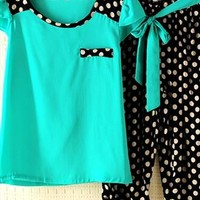 Candy Color Dot Chiffon Set