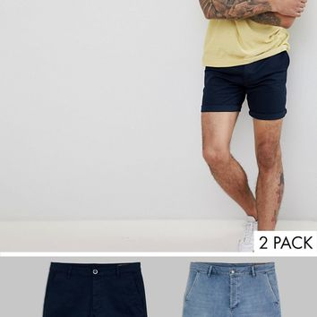 ASOS DESIGN Slim Fit Denim Short In Light Wash And Chino Short In Navy Multipack Save at asos.com