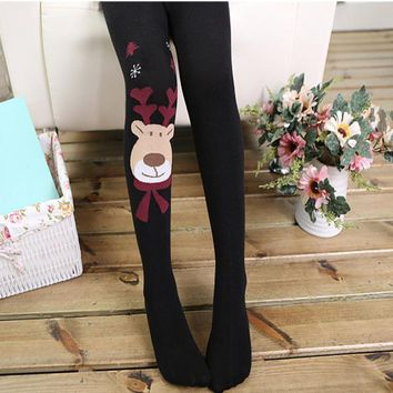 Kids Girl Elasticity Tights Soft Christmas Elk Print Splice Socks Pantyhose