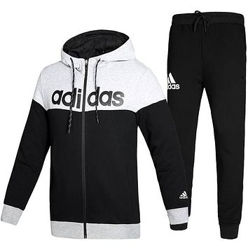 Boys & Men Adidas Fashion Cardigan Jacket Coat Pants Trousers Set Two-Piece