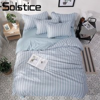 Solstice Home Textile Light Blue Stripe Duvet Cover Pillowcase Sheet King Queen Twin Full Boy Teen Adult Girl Bedding Linens Set