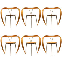 Set of Six Revers Chairs by Andrea Branzi for Cassina, Italy, Circa 1993