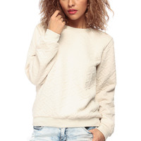Beige Shimmered Crew Neck Sweater