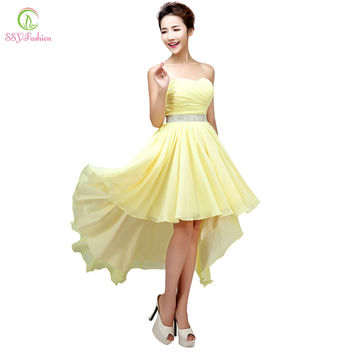 Sexy Cocktail Dresses 2017 SSYFashion Women's Chiffon Strapless Lace-up Beading Evening Gowns Plus Size Bride Formal Prom Dress