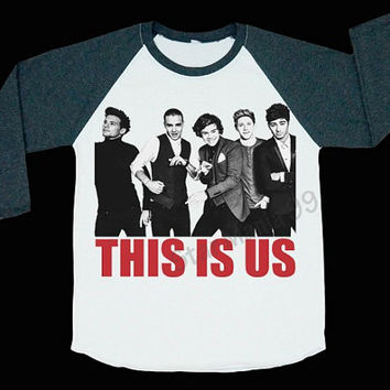 1D This Is Us TShirt One Direction TShirt 1D TShirts Baseball Shirt Long Sleeve T Shirt Women T-Shirt Unisex White Women T-Shirts Size S,M,L
