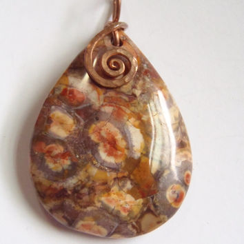 Birds Eye Rhyolite Jasper Pendant Hammered Copper Spiral Wire Wrap Pendant Necklace Fall Trends Autumn Jewelry Bohemian FREE SHIPPING