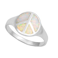 Sterling Silver Peace Sign Haight Ashbury Hippie 12MM White Lab Opal Ring