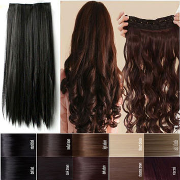 Long 24/26 inches Straight 68CM 100% Real Thick 140g 3/4 Full Head Clip in on Hair Extensions 2015 FAHION NEW MULTI-COLORS