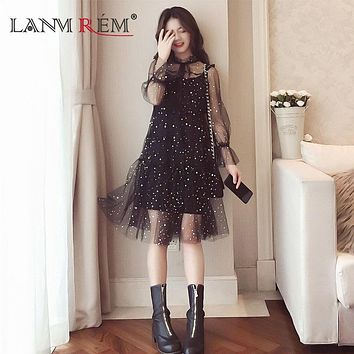 LANMREM 2018 Summwe New Fashion Casual Sequines String A-line Dot Full Lace Knee-length Strap Square Collar Women Dress N22201