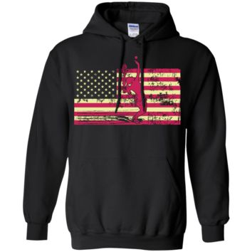 Female Tennis Player Silhouette On The American Flag Pullover Hoodie 8 oz