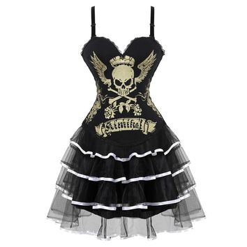 Skull Print Overbust Corsets Dress Lace up Burlesque Corset