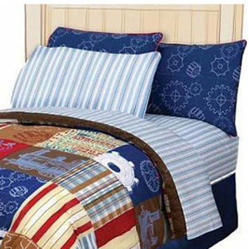 4Pc Disney Engine Express Striped Full Bedding Sheet Set