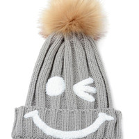 Gray Nifty Smiley Knitte Pom Top Beanie