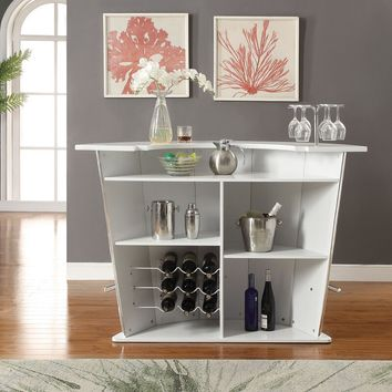 Acme 72360 Sphaerio curved front ivory vinyl upholstered bar unit with chrome accents