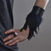Feather Leather Cuff Bracelet - Black Leather Cuff Bracelet - Leather Cuff - Festival Accessories - Burning Man