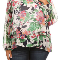 Plus Size Spring Floral Layered Hem Top