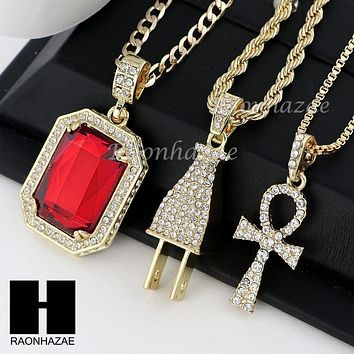 """ICED OUT RUBY ANKH PLUG PENDANT 24"""" 30"""" ROPE BOX CUBAN CHAIN NECKLACE SET S011"""
