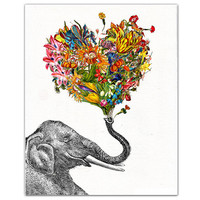 The Happy Elephant ART Print 8 x 10