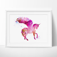 Unicorn Watercolor Print, Unicorn art, watercolor painting, watercolor art, Illustration,home decor, wall art, animal art, poster (203)