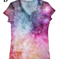 woman galaxy print top, t shirt and tank xs - plus size