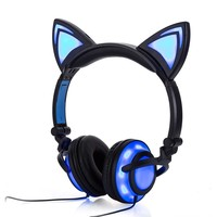 Cat Ear Headphones with Light Up Ears and Headphones