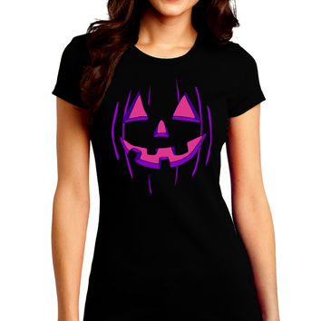 Halloween Glow Smiling Jack O Lantern Juniors Crew Dark T-Shirt