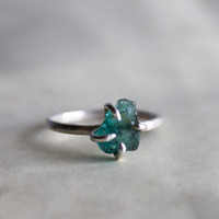 Raw apatite aqua green sterling silver organic natural handmade ring