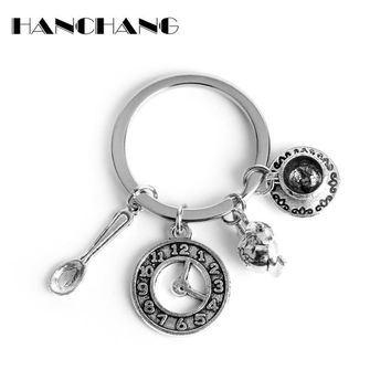 HANCHANG Jewelry Fairy Tales Story Key Chain Alice In Wonderland Spoon Coffee Kettle Magician Hat Charm Key Ring Retro Keychain