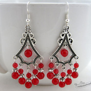 Red ruby earrings red chandelier earrings boho dangles gypsy earrings, hippie earrings birthstone jewelry, long earrings, gift for her