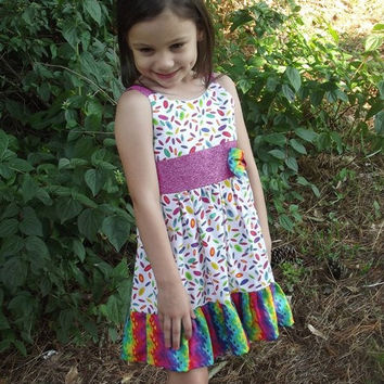 Girls Multicolored Sundress size 4 with bows by SouthernSister2